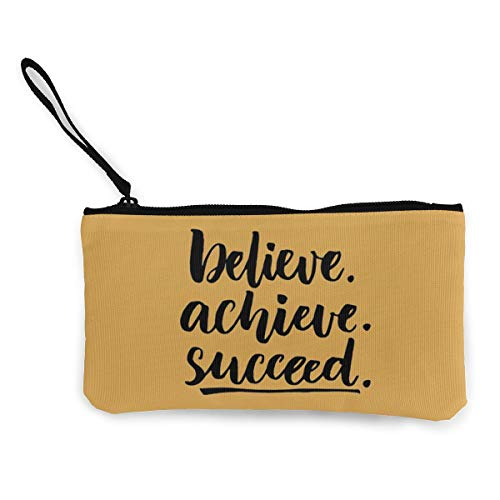 Succeed Pencils - Terany Canvas Pencil Case - Believe Achieve Succeed Durable Cosmetic Makeup Bag Zipper Closure Coin Purse Wallet Phone Pouch with Handle for Women Kids Adults