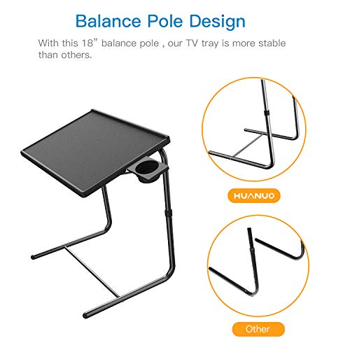 Adjustable TV Tray Table - TV Dinner Tray on Bed & Sofa, Comfortable Folding Table with 5 Height & 3 Tilt Angle Adjustments, Laptop Table with Built-in Cup Holder (1 Pack, Black) by HUANUO (Image #4)