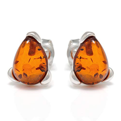 925 Sterling Silver Drop Stud Earrings with Genuine Natural Baltic Cognac Amber.