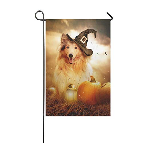 Sandayun88x Garden Flags Home Decorative Outdoor Double Sided Collie Dog Witch Hat Decorated Halloween Garden Flag,House Yard Flag,Garden Yard Decorations,Seasonal Welcome Outdoor Flag 12 X 18 Inch S ()