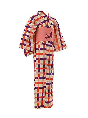 ソフィー引くジェームズダイソン浴衣 セット [ツモリチサト] TSUMORI CHISATO 浴衣 半幅帯 2点セット 格子猫 夏祭り 夕涼み 花火 フリーサイズ レディース