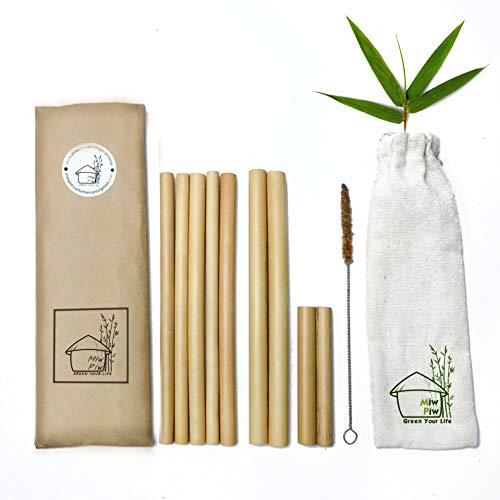 Bamboo Straws Reusable| 10 Biodegradable Straws & Cleaning Brush & Travel Bag | 2 Boba Size | Bambu Drinking Straw Ecofriendly Gifts | Compostable Sustainable Zero Waste | Replacements Plastic Straw