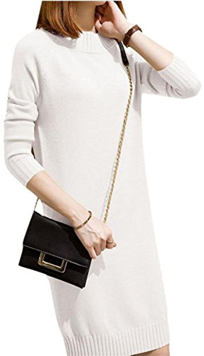 Pulloverer Jaycargogo White Cable Sleeve Knit Neck Crew Long Women's Sweaters 0q0AxT7f