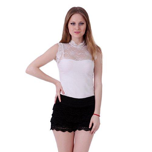 Lace Short Pants (HDE Women's Fitted Scallop Hem Crochet Lace Mini Shorts (Black, Small))