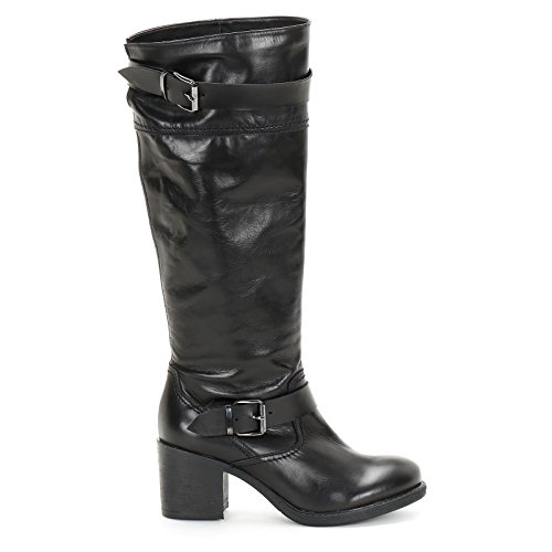 7 Con Botas Scarpe Cm Piel Hebilla Doble Alesya Negro Tacones De amp;scarpe SqfzZ