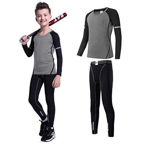 2//3//4 Pcs Boys Base Layer Thermal Underwear Set Compression Leggings Pants Shirts