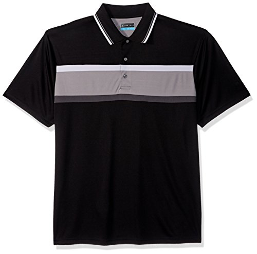 PGA TOUR Men's Short Sleeve Chest Print Polo Shirt, Rugby Stripe Caviar, XXL ()