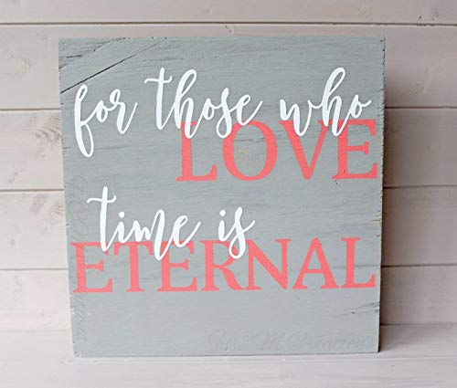 Burkewrusk for Those who Love Painted Wood Sign Wedding Decor Love is Eternal Bridal Shower Gift Painted Wedding Sign Newlywed ()