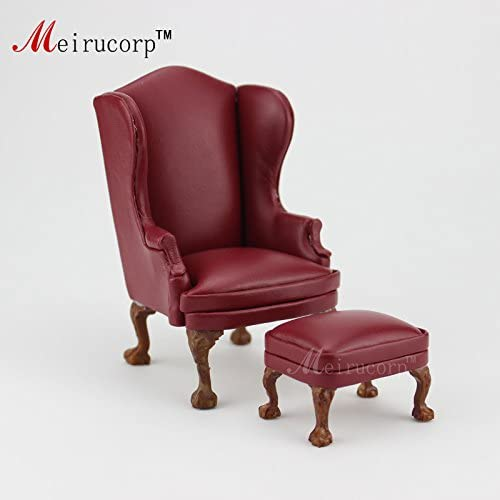 Meirucorp Doll House 1:12 Scale Miniature Furniture Hand Carved Chair and Ottoman10513