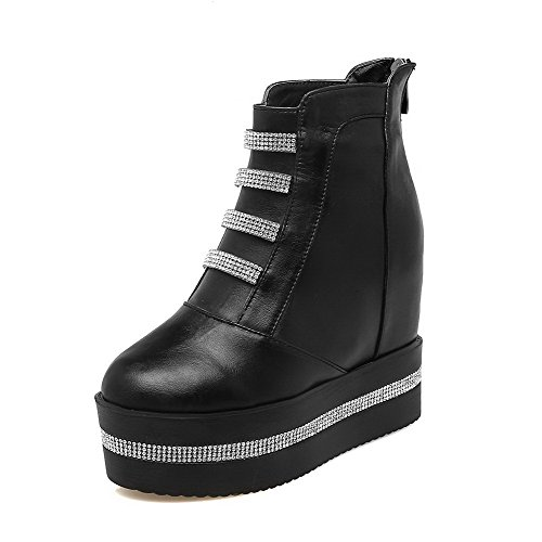Allhqfashion Women's Solid PU High-Heels Zipper Round Closed Toe Boots Black