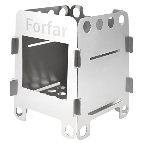 Forfar Portable Stainless Steel Lightweight Folding Wood Alcohol Stove for Outdoor Cooking BBQ Camping (Lightweight Alcohol Stove)