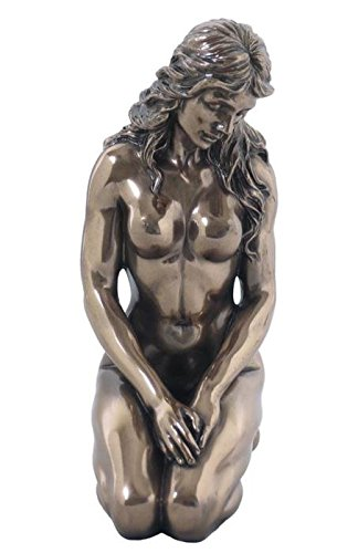 Bronze Color 5.88 Inch Nude Female Statue Kneeling with Hands on Back