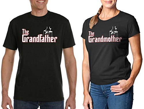 Men's The Grandfather T-Shirt & Women's The Grandmother T-Shirt [Men's: LG, Black/Women's: MD, Black]