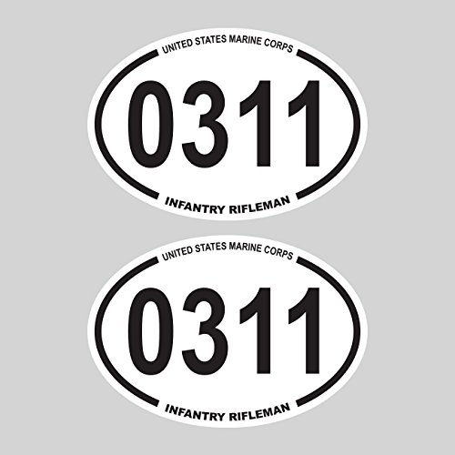 Two Pack United States Marine Corps MOS 0311 Infantry Rifleman Oval Sticker FA Graphix usmc semper