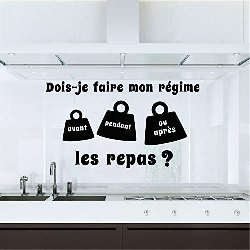 Wall Decal Sticker Art Mural Home Dcor Quote Dois-Je Faire Mon Régime Les Repas for Kitchen Dining Room -