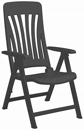 Garden Armchair Chair Resol Blanes Adjustable Folding Plastic Lounger Grey