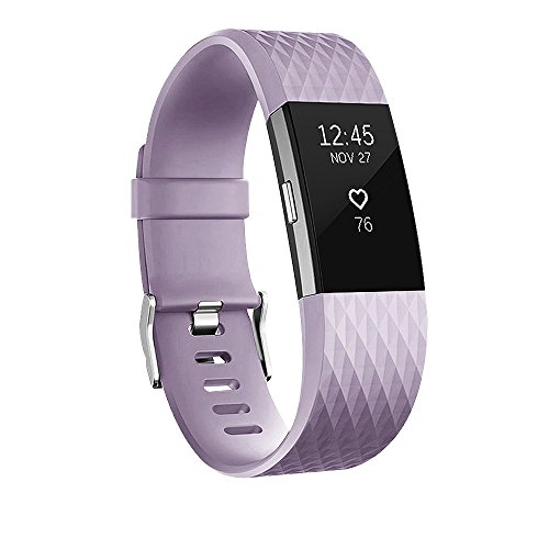 POY Replacement Bands Compatible for Fitbit Charge 2, Adjustable Sport Wristbands, Lavender Large, 1PC