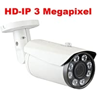 GW Security 3 Megapixel 2048 x 1536P HD IP PoE 2.8-12mm Varifocal Zoom Onvif Weatherproof Network Bullet Security Camera