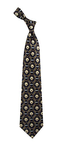 Men's Navy Blue & Gold 100% Silk US Navy Logo Military Necktie Tie Neckwear - 58' Pendant
