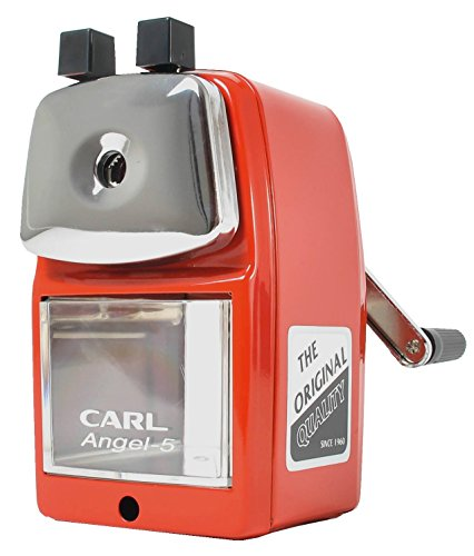 CARL Angel-5 Manual Pencil Sharpener Heavy Duty Quiet for School Home and (Red Sharpener)