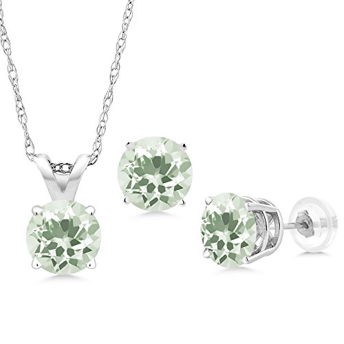 White Gold Pendant Earrings (2.85 Ct Round Green Amethyst 14K White Gold Pendant Earrings Set With Chain)