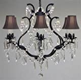Cheap WROUGHT IRON CRYSTAL CHANDELIER CHANDELIERS LIGHTING H 19″ W 20″ – WITH BLACK SHADES! Great for Bedroom, Kitchen, Dining Room, Living Room, and More!