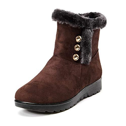(LONGDAY ⭐ Women's Ladies Winter Waterproof Martin Short Snow Boots Warm Flats Shoes Side Zipper Buckles Outdoor Slip On)