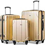 Merax 3 Piece P.E.T Luggage Set Eco-friendly Light Weight Spinner Suitcase (Gold)