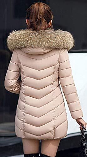 Capucha Manga Moda Retro Cremallera Chaqueta Acolchada Mujer Outerwear Capa Bolsillos Plumas Con Laterales Invierno Larga Unicolor Khaki tOw6qF5