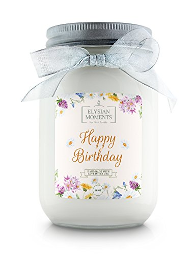Elysian Moments Soy Wax Highly Scented HAPPY BIRTHDAY Gift Candle CINNAMON BUN 16 oz