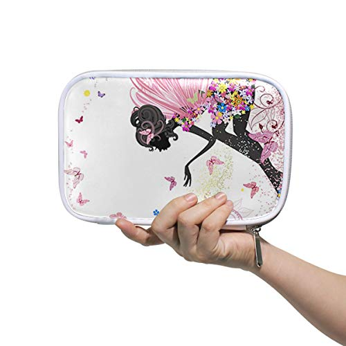 SLHFPX Flower Fairy Butterflies Big Pencil Case Multifunction Leather Makeup Brushes Bag Organizer Zip Bags