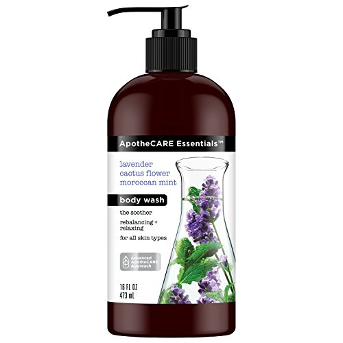 ApotheCARE Essentials Body Wash, Lavender, Cactus Flower, Moroccan Mint, 16 oz - Herbal Moisturizing Shower Gel