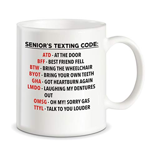 Retirement Gag Gifts Ideas for Retired Boss Coworkers Grandpa Grandma Dad Mom Funny Senior's Texting Code Office Humor Ceramic Novelty Gift Coffee Mug Tea Cup For Christmas or Birthdays