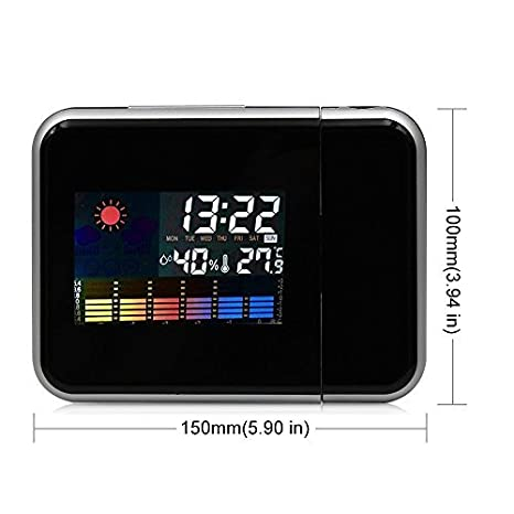 SunJas Reloj Despertador con Proyección con Luz Rojo de Tiempo Proyector Digital Giratorio con Sensor de