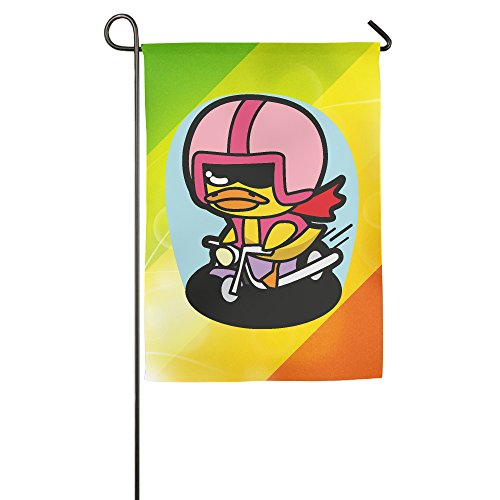 Biker Duck Cartoon Garden Flag Colorful Mulitcolor Bright Cute USA-Produced Garden Flag/Protest Flag/Match Flag