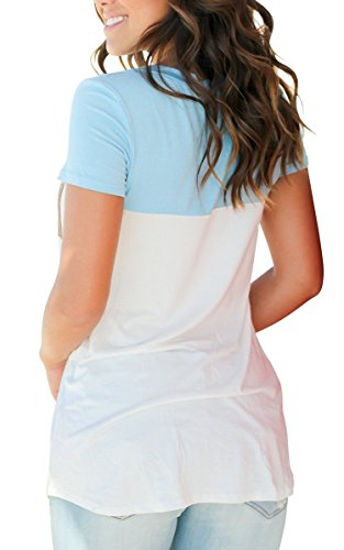 ... Minetom Damen Sommer Basic V Ausschnitt T-Shirts Kurzarm Farbblock Mode Casual  Bluse Oberteile Tops ... 44262231f5