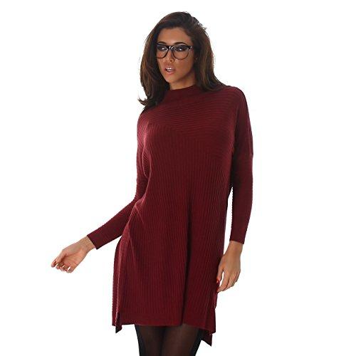 Voyelles señoras suéter mini vestido mini vestido largo de la camisa de gran tamaño bate de cuello redondo mangas Uni-Look burdeos