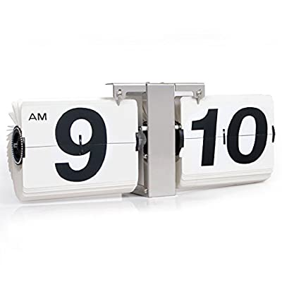 KABB Modern Digital Mechanical Retro Flip Dоwn Clock wіth Internal Gear Operated (14 Inch White) - 12 hour AM/ PM retro flip wall & desk clock, flip down minute and hour display; Stylish appearance and unique clock schemes meet all your office and home decoration needs; The large white numerals on the black background, easy to read the time, even from side; - clocks, bedroom-decor, bedroom - 41wCUkuQfOL. SS400  -
