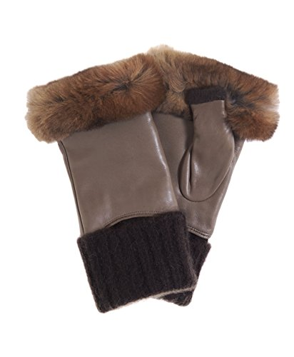 Fratelli Orsini Women's Italian Rex Rabbit Fur and Cashmere Fingerless Gloves Size 7 1/2 Color Brown by Fratelli Orsini