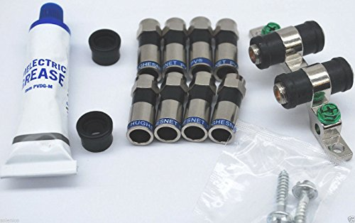 8 COMPRESSION -F- CONNECTORS RG6 PERFECT VISION DUAL GROUND BLOCK & DIELECTRIC GREASE ()