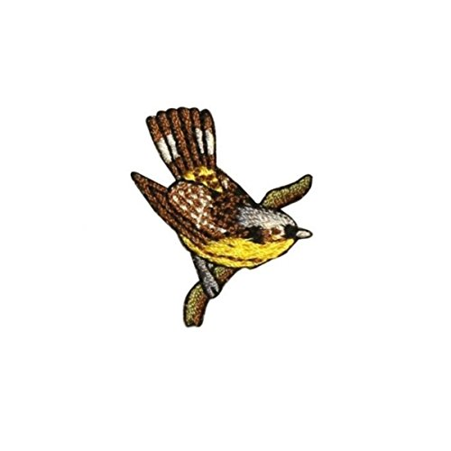 (ID 0612D Sparrow Perched Patch Robin Swallow Branch Embroidered Iron On Applique)