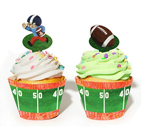 Football Themed Cupcake Decoration - Football Party Supplies - Set of 24 Pieces Cupcake Topper and 24 Pieces Cupcake Wrapper - Good for 24 Cupcakes ()