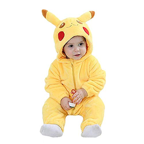 Unisex-Baby Romper Flannel Costume Onesie Jumpsuit Animal Cosplay Outfits (Pikachu, Large) ()