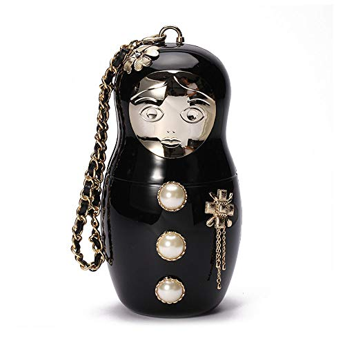 JBAG-one Russian Doll Evening Bag, Acrylic Women Purse Beads Cartoon Design Wedding Clutch Bags, Ladies Handbags Wallet with Strap