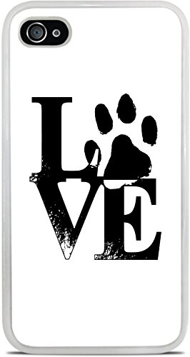 Love Pet Pets Paws Dog Cat Puppy Kitten Stacked White Silicone Case for iPhone 4 / 4S by Moonlight Printing