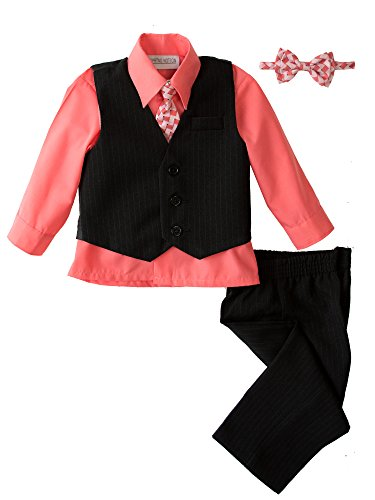 Springs Places Coral (Spring Notion Baby Boys' 5 Piece Pinstriped Vest Set Coral 6 Months)