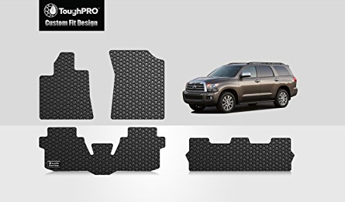 (ToughPRO Floor Mats 1st + 2nd + 3rd Row Compatible with Toyota Sequoia - (Made in USA) - Black Rubber - 2008, 2009, 2010, 2011, 2012, 2013, 2014, 2015, 2016, 2017, 2018, 2019, 2020 )