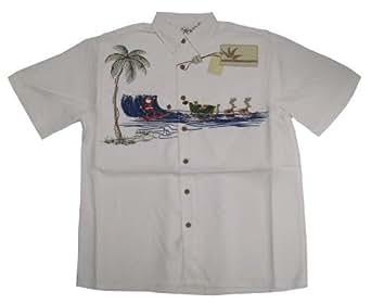 Bamboo cay mens santa dropping in embroidered shirt at for Bamboo button down shirts