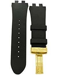 BROADWAY WATCH BLACK 26mm RUBBER BAND GOLD COLOR BUCKLE