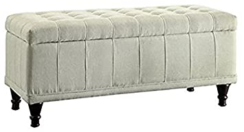INSPIRE Q Rustic Sand Upholstered Tufted Storage Ottoman Bench for Bedroom or Living Room